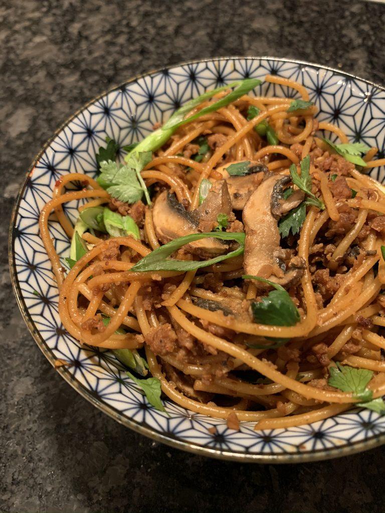 Dan dan noodles in a bowl