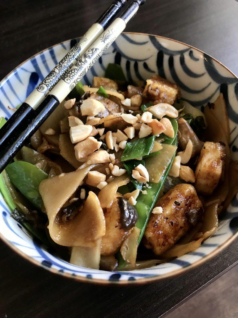 pad kee mao with chopsticks