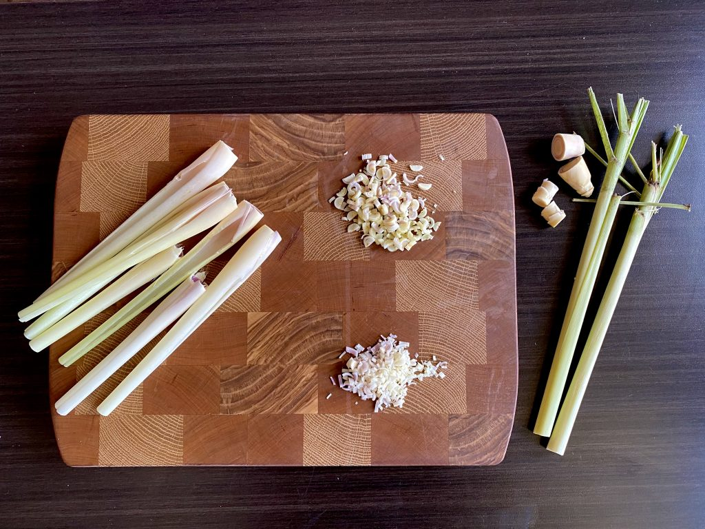 cut lemongrass on a cutting board