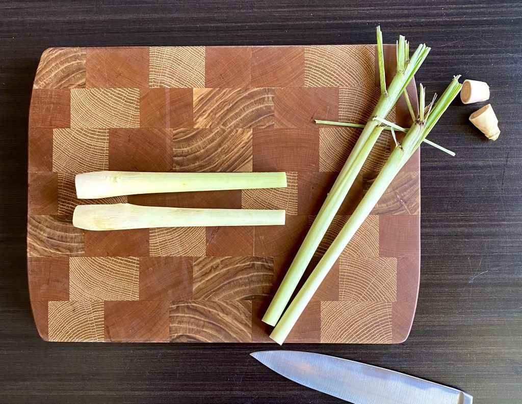 cut off tops of lemongrass
