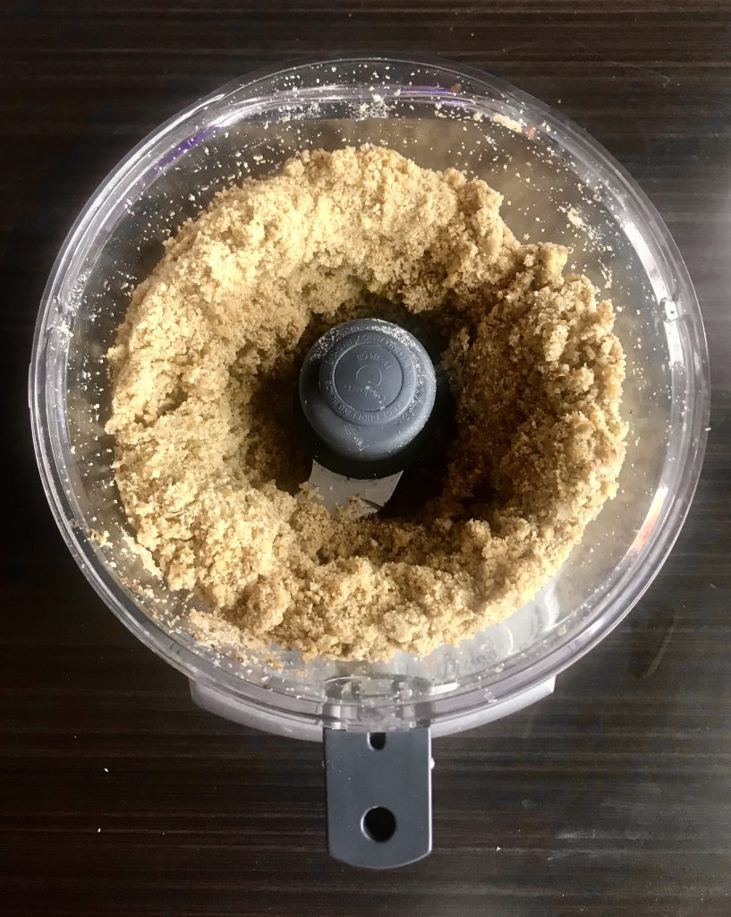 mixed ingredients in food processor