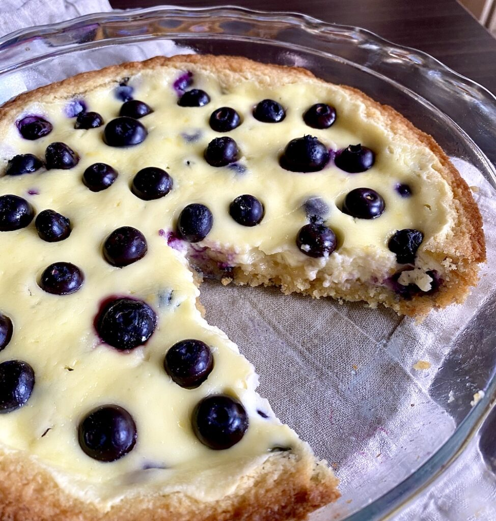 close up side angle photo of Finnish blueberry pie