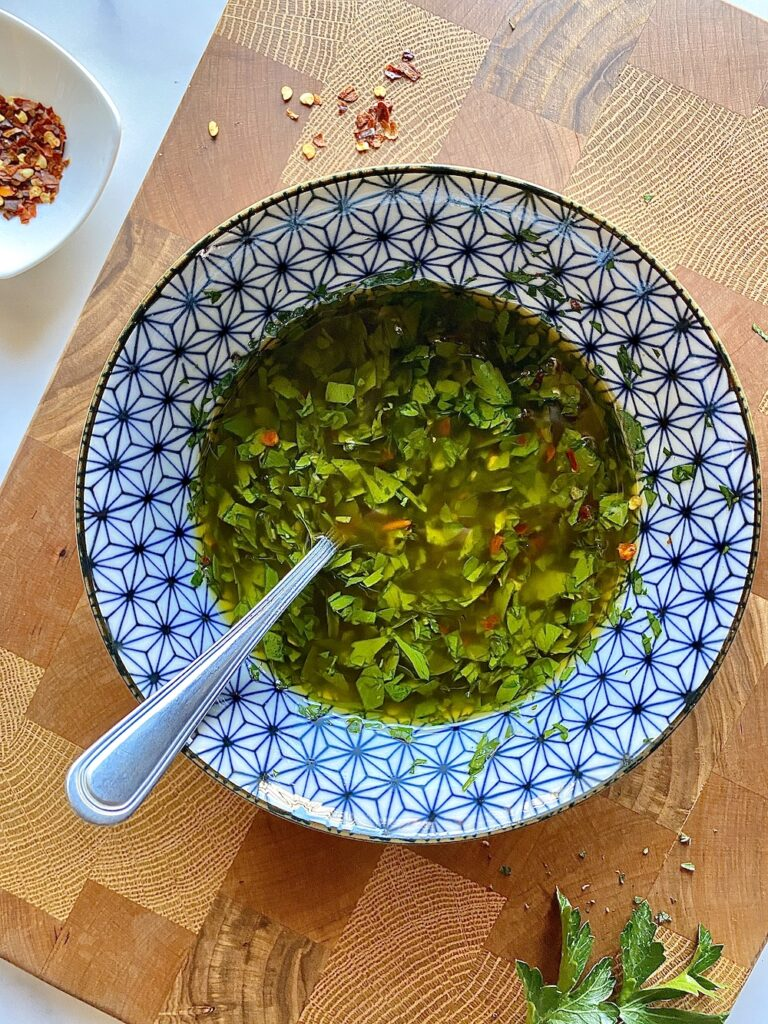 argentinian chimichurri in a bowl