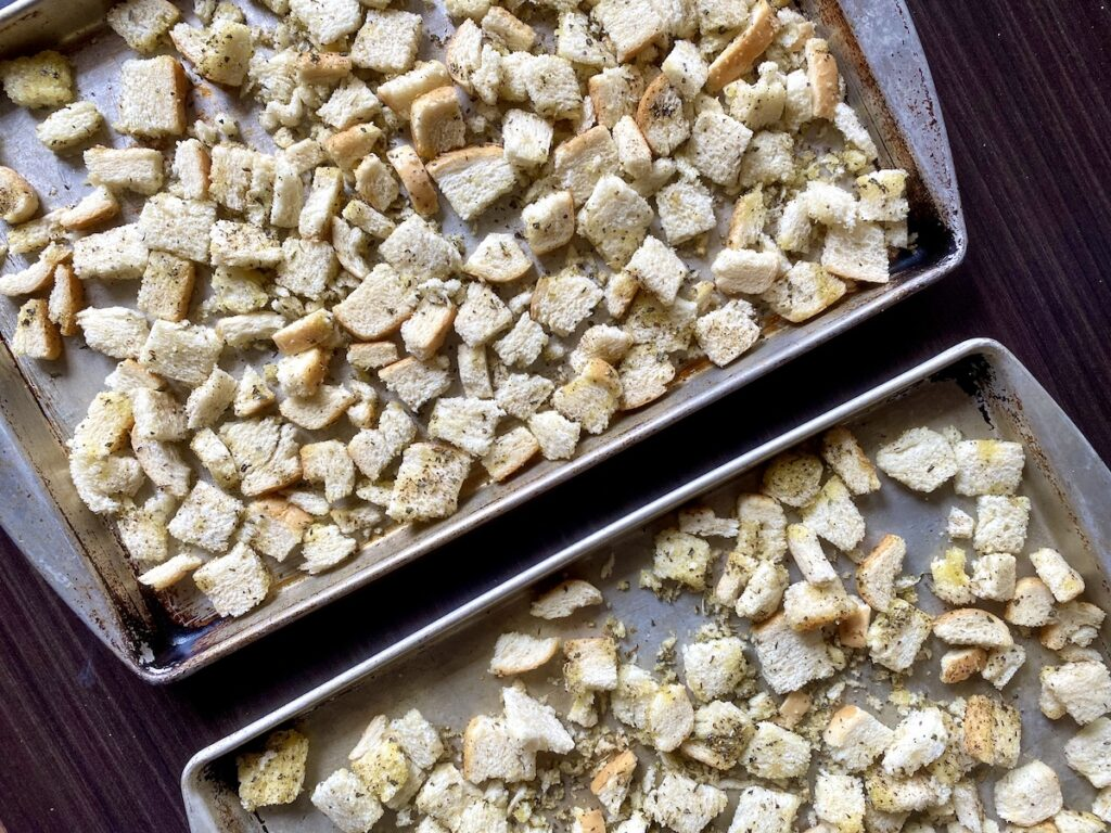 croutons on two baking trays