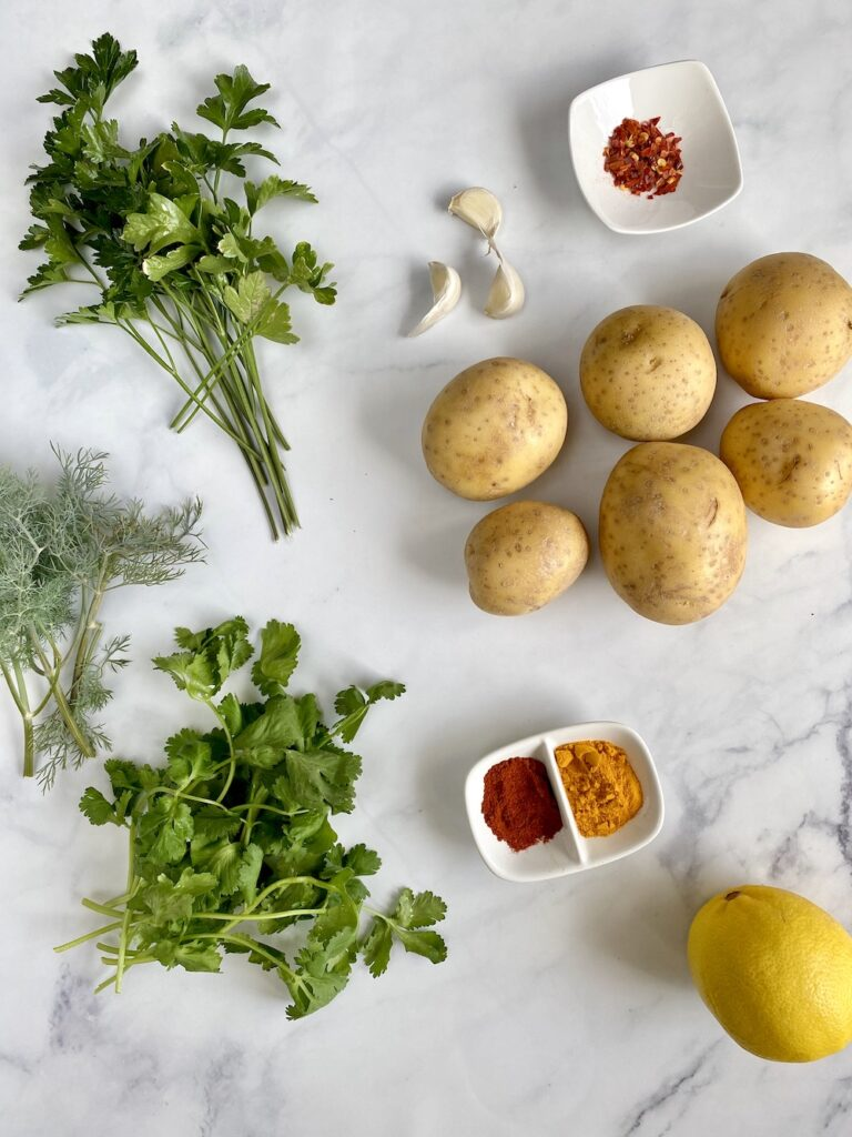 ingredients used for making Lebanese spicy potatoes