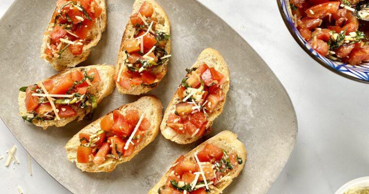 Homemade Bruschetta with Parmesan