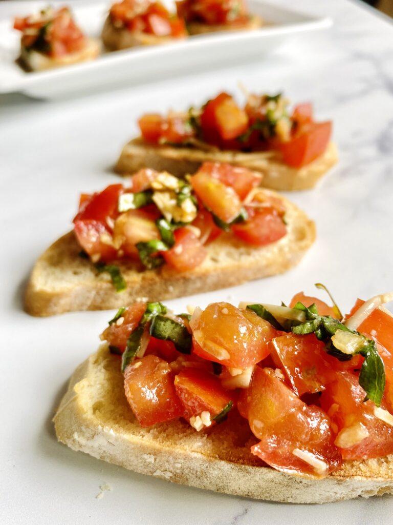 close up of tomato bruschetta on French bread