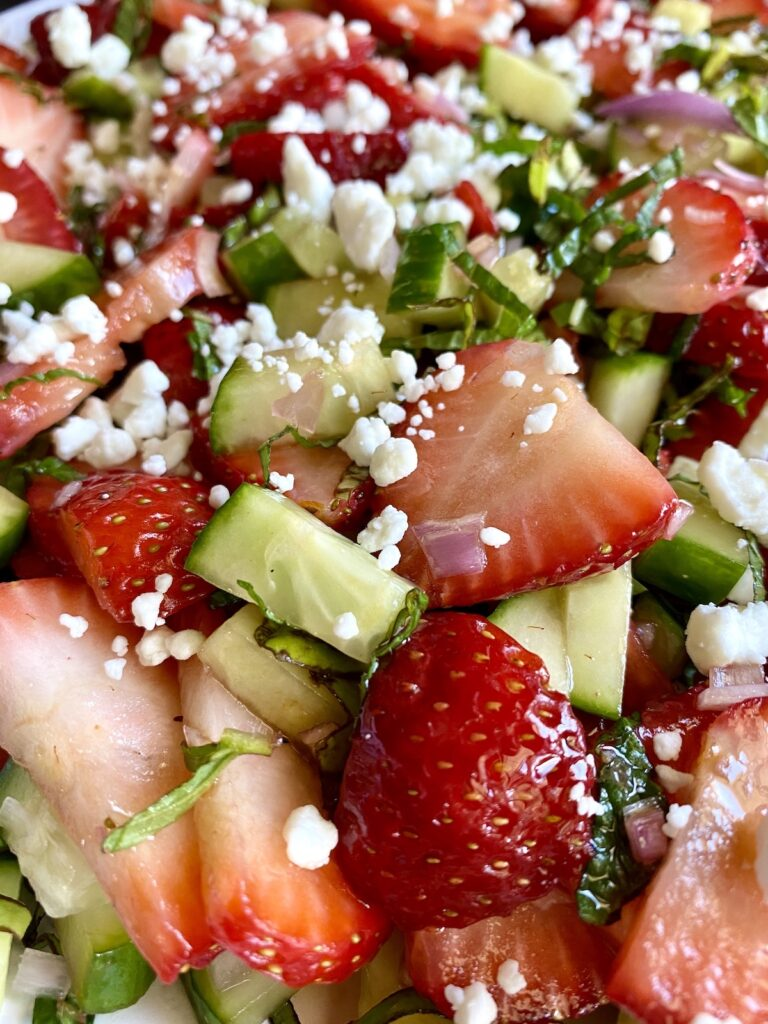close up image of strawberry fruit salad